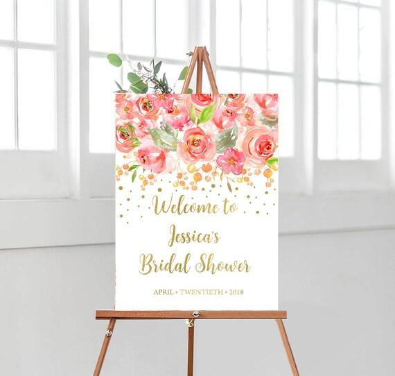 Bridal Shower Decorations Gold Bridal Shower Decor Welcome Sign Bridal Shower Banner Decoration Pink Rose Gold Party Ideas Weddsing10