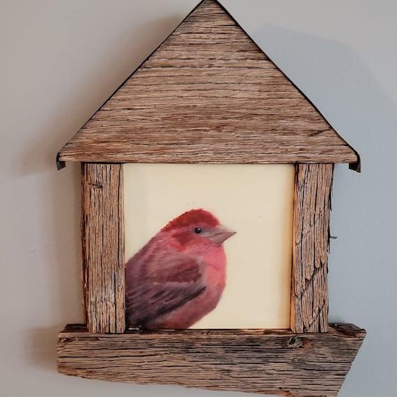 Purple Finch In Bird House Frame Original Encaustic Etsy