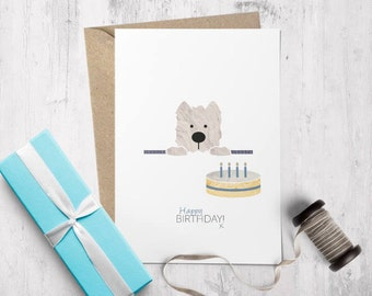 Westie Birthday Card, Cute Birthday Card, Westie Gift, Dog Birthday Card, Westie Card, West Highland Terrier, Bestseller