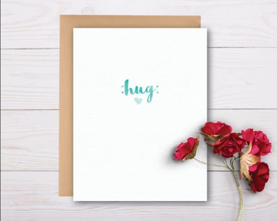 sending you a hug sympathy card grief card bereavement etsy