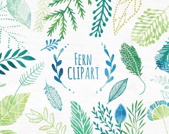Watercolor Leaf Clipart set, Watercolour Fern Clipart, Clip art leaves Hand Drawn Clipart, Instant Download, DIY Wedding Stationary, Unique