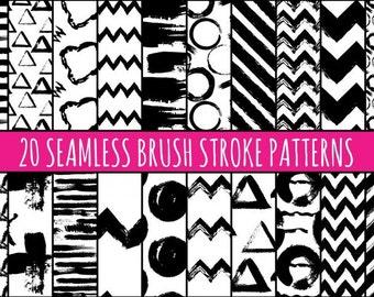 Brush Stroke Patterns, Vector Brush Patterns, Vector PAtterns, Hand painted Patterns, Black and White, Brush Patterns, Seamless Pattern