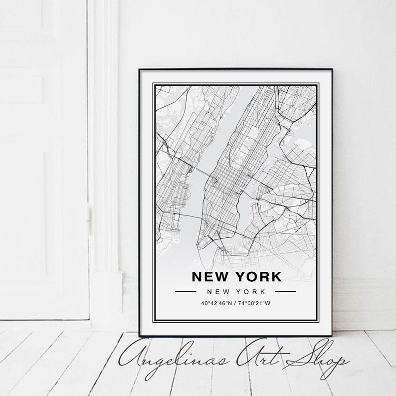 Map Of New York Poster.New York Map Manhattan Map