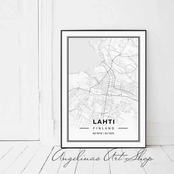 Lahti Map Black And White Etsy