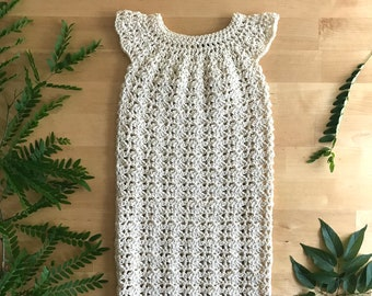 Newborn Baptism Dress, Crochet Baptism Dress, Baby Ivory Dress, Baptism Gown, Christening Gown, Newborn Dress, Heirloom Dress, Ivory Dress