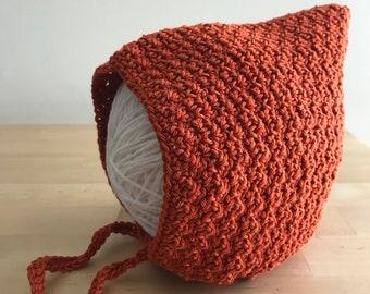 Pixie Baby Bonnet, Pixie Bonnet, Pixie Hat Baby, Pixie Hat, Modern Bonnet, Crochet Baby Bonnet, Cotton Bonnet, Crochet Bonnet, Baby Bonnet
