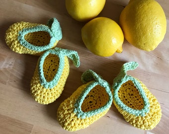 Yellow Baby Booties, Yellow Baby Shoes, Lemon Baby Booties, Yellow Lemon, Crochet Baby Booties, Crochet Baby Shoes, Baby Photo Prop Crochet