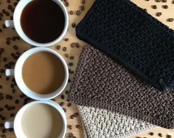 Cotton Washcloth Crochet, Crochet Washcloth Set, Cotton Face Cloth, Washcloth Crochet, Cotton Washcloth, Washcloth Set, Coffee Lovers Gift