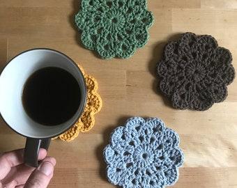 Crochet Flower Coasters, Crochet Coffee Coasters, Crochet Drink Coasters, Farmhouse Coasters, Farmhouse Table Decor, Flower Coasters
