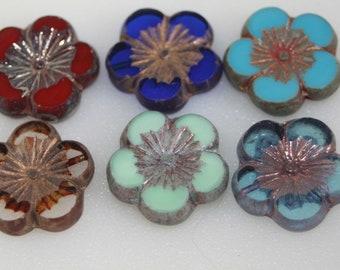 Czech Glass Beads 2625 Picasso Beads Hibiscus Flower 9mm Hawaiian Flower Beads 12pcs