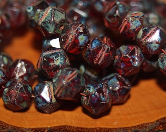 Czech Glass Beads, English Cut, 10mm, 15 Beads