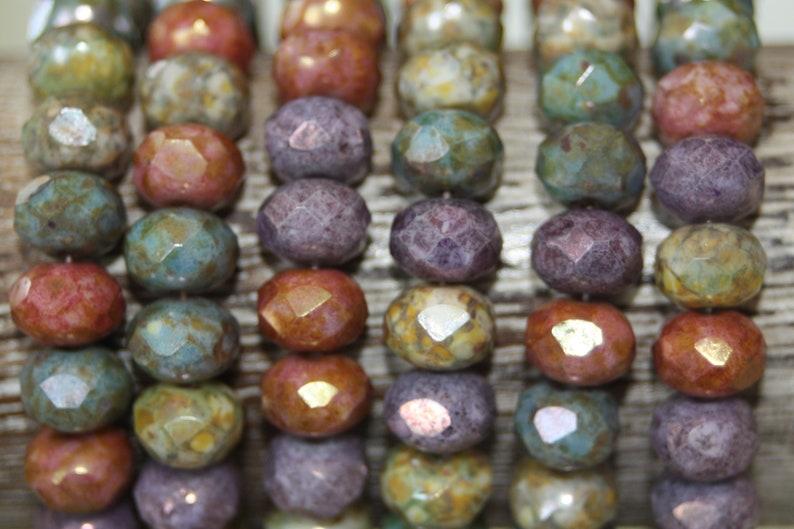 8x6mm 25 Beads Czech Glass Rondelles
