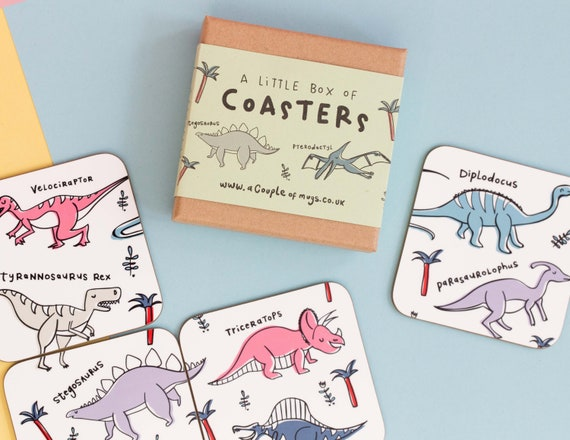 Types of Dinosaur 4 Coaster gift set