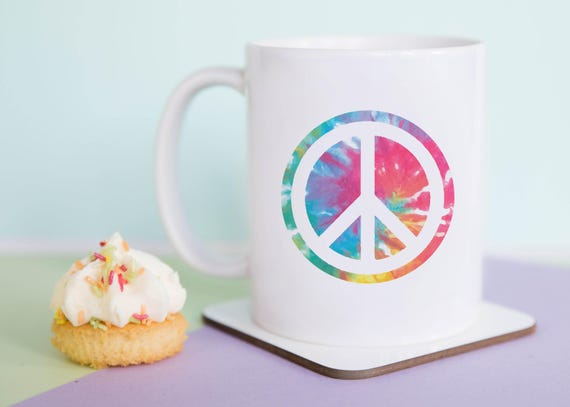 Tie dye peace sign mug, Peace sign, Feminist Mug, Fun Mug, Fun Gift, Illustrated, Gift for Her, Girl Power, A Couple Of Mugs