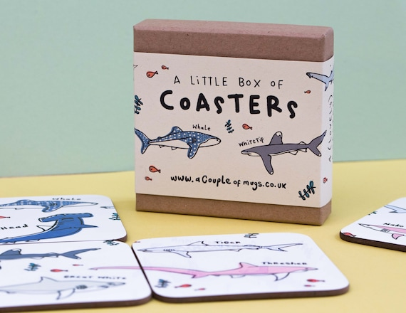 Types of Shark 4 Coaster gift set