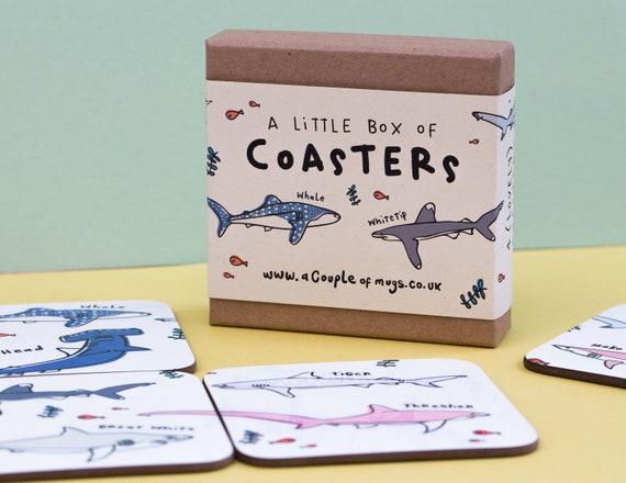 Types of Shark 4 Coaster gift set