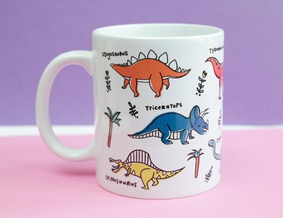 dinosaur mug, types of dinosaur, dinosaur gift, dinosaur coffee mug, dinosaur lovers gift, palaeontologist gift paleontologists gift,