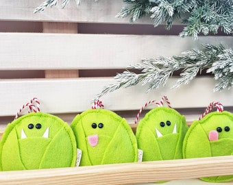 Mean, Nasty Sprouts. Felt Christmas decoration