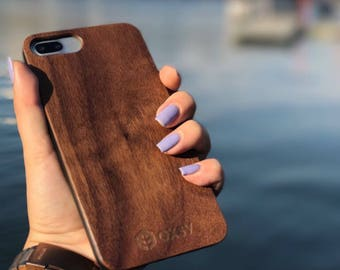3044979838 OXSY Walnut Wood Case   Genuine Apple iPhone 7+   Real Wood   Solid Wood  iPhone 7+ cover   New wooden case   Walnut wood cover   Gift Idea