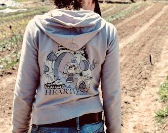 heartless zip-up hoodie, fun sweatshirt, comfy sweatshirt, queen hoodie, snake jacket, rat hoodie, cotton hoodie, original design by Evi Z.