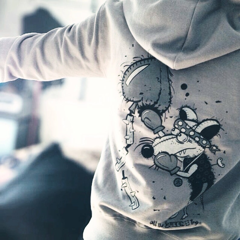 boxing rat hoodie. streetwear. gray jacket. comfy clothing. image 0
