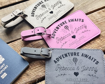 Personalized Luggage Tags, Engraved Luggage Tags, Mr and Mrs Luggage Tags, Custom Leather Luggage Tags, Custom Luggage, Honeymoon Luggage