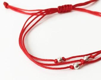 Evil Eye Red String Kabbalah Bracelet Goldtone perles porte bonheur protection