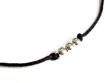 """Bracelet clé /""""chance/"""" cordon noir Bijoux Mode été"""