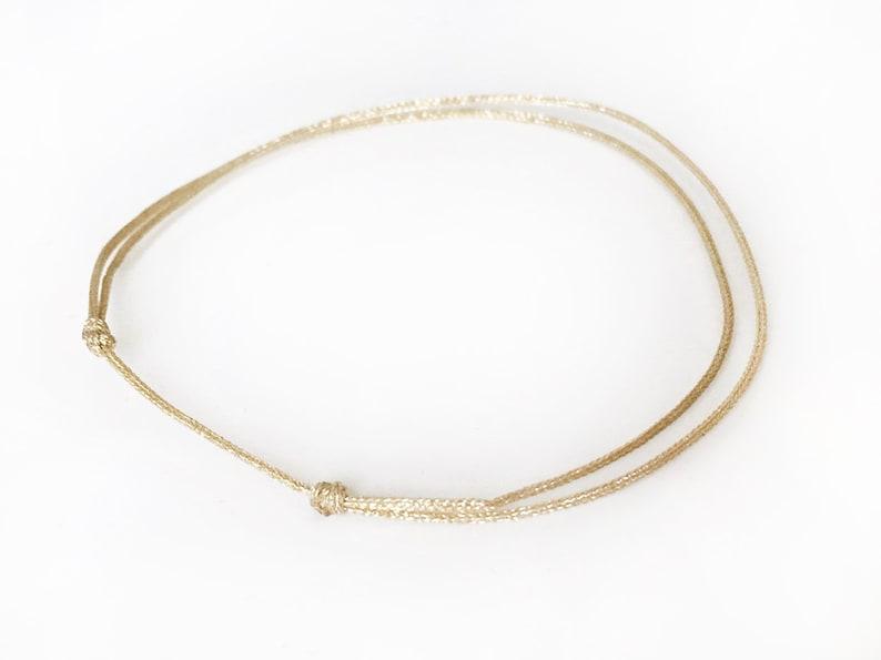 GOLD tone bracelet Thin slip knots GOLD tone cord bracelet GoLD tone cord bracelet Lucky jewelry Man Woman minimalist bracelet Fashion gold