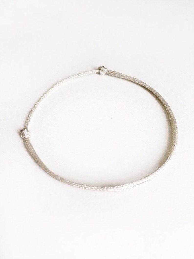 SILVER tone bracelet Thin slip knots SILVER tone cord bracelet silver cord bracelet Lucky jewelry Man Woman minimalist bracelet Fashion chic