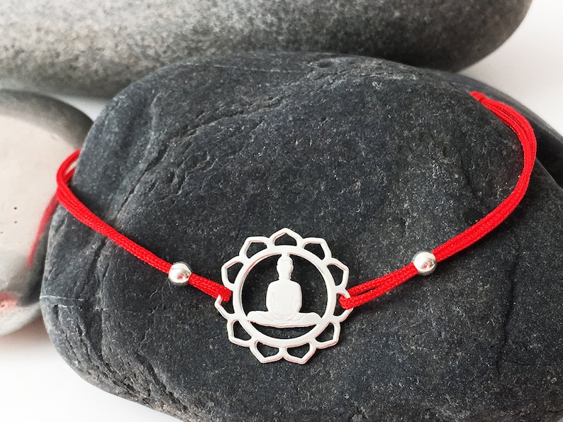 925 sterling silver YOGA Buddha medal and 2 sterling silver beads on a RED cord bracelet Kabbalah Good Karma Protect meditation bracelet