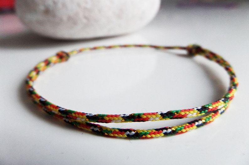 YELLoW RED GREEN /& GOLD cord bracelet Lucky woman man teen Bracelet 2019 Bracelet gift Chic Bracelet Fashion Thin gold cord