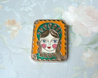 BADGE TURKMEN GIRL Vintage Badge/_Girl in National Dress Russian Folk Style Badge Ussr