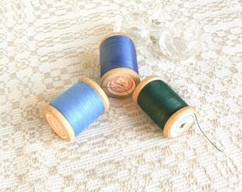 pure cotton craft supplies wooden thread spools light dark blue orange dark green sand beige pink rose Set of 6 cotton sewing threads