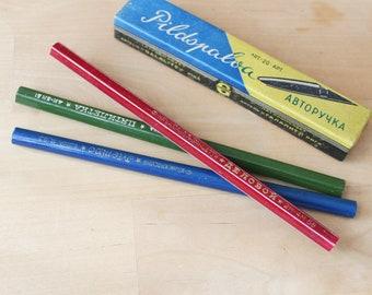 School memories Vintage graphite pencil Rare Konstructor 6 kit pensils Soviet wooden pencils for drawing Drafting tools 1980