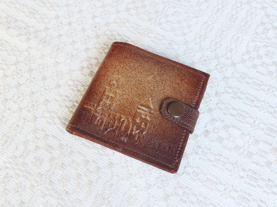 genuine leather wallet Brown vintage wallet vintage leather Coin Purse wallet with Pressed Pattern made in Latvia 1980s