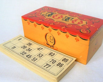 Russian LOTTO Vintage/ Lotto Bingo Game in Wooden Box/ Soviet Time Table Game/ USSR (02)