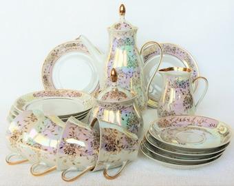 ESPRESSO Coffee Set Vintage/ Thin Porcelain Coffee Set/ Floral Pattern, Gold & Luster/ Vintage Coffee Serving/ Latvia 1980s