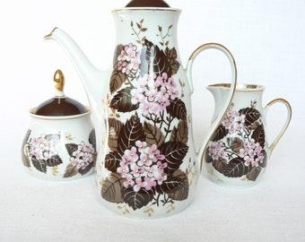 ESPRESSO Coffee Set Vintage/ THIN Porcelain Coffee Pot, Sugar Bowl & Creamer/ Floral Decal, Gold Rim/ Latvia 1980s