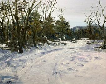 Original oil painting by Laura Campos//winterscape//snow painting//housewarming//wall art//handmade art//trees//landscape//livingroom//