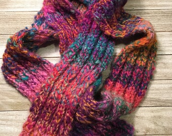 Multicolored scarf / hand knit scarf / handspun scarf / handmade scarf / ladies scarf / girls scarf / wool scarf / ribbed scarf / long scarf