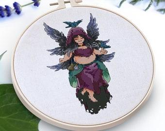 Starling - Flower Fairies (Cross stitch pattern, PDF)