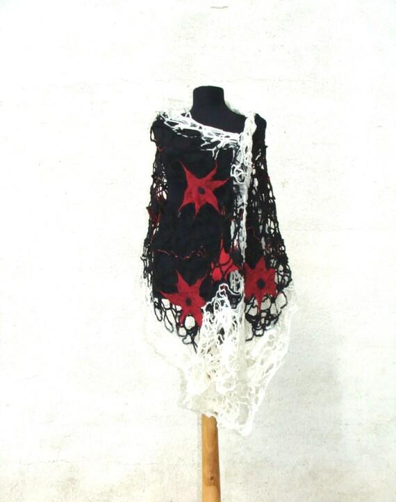 4c1cb3b37311 Fils de laine feutrée châle écharpe en laine toile   Etsy