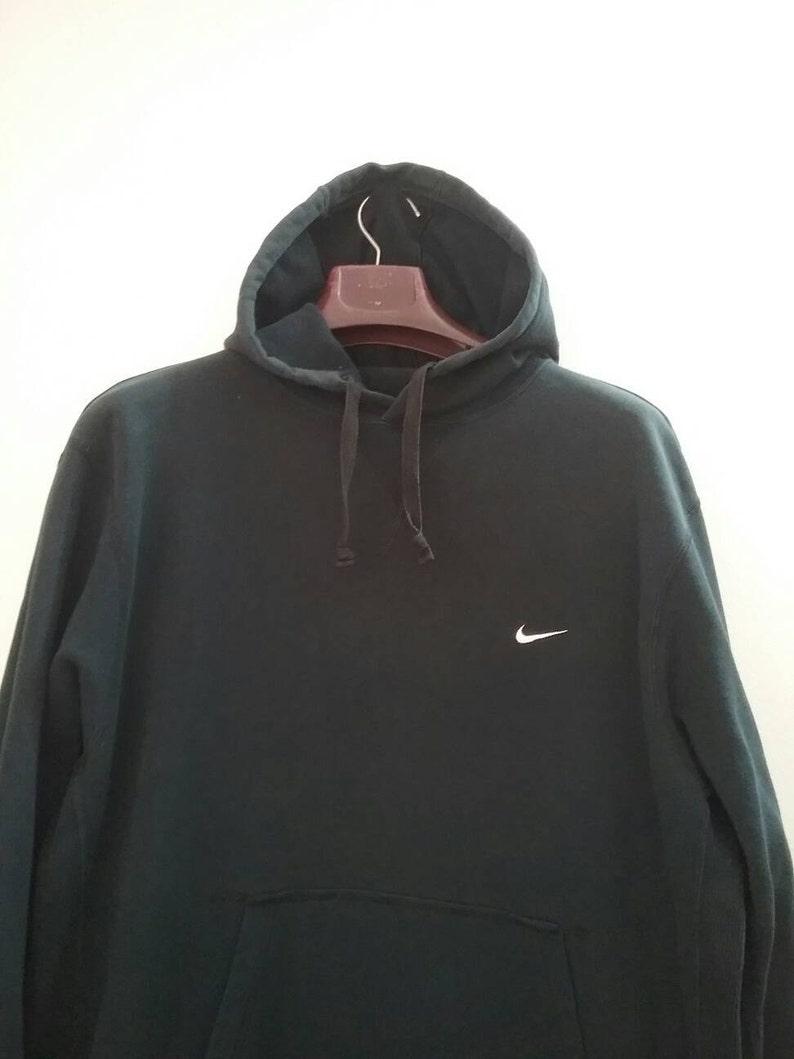 18faa230421e9 Vintage NIKE SWOOSH Hoodie Oversized Slouchy Sweatshirt Pullover Crewneck  Jumper Shirt Jacket Minimal Light Black