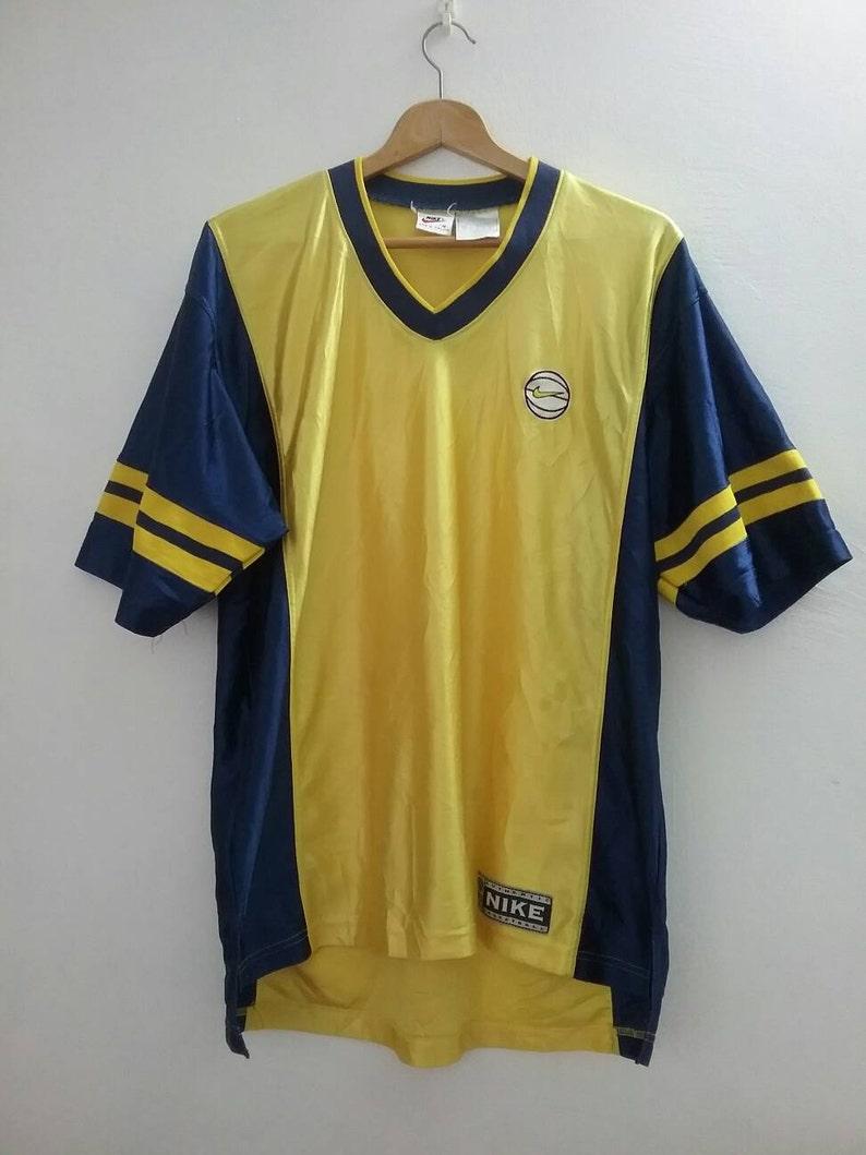ae049dad NIKE Yellow and Blue Hip Hop tshirt Oversized Nike Basketball | Etsy