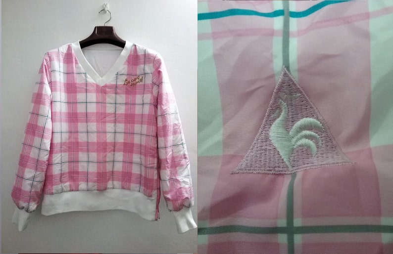 Adorable Reversible plaid pullover FRANCE Le Coq Sportif Full  a494ce0df