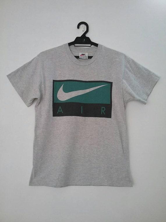 Nike AIR Swoosh Box Shirt Rare Small Vintage Nike AIR tshirt 90s Nike Color Block Nike cotton rayon blend 4jmthQAKE