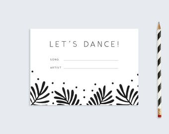 Printable Song Request Card  |  DIY Stationary  |  Monochrome Botanical Wedding Stationary