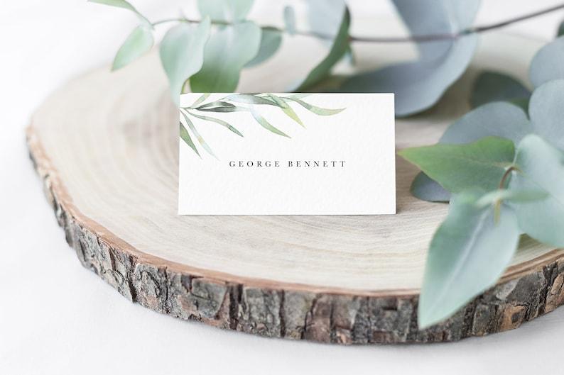 Printable DIY Wedding Card Editable Wedding Name Card Foliage Name Card Template