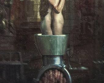 "Arthur Berzinsh raster graphic painting RELICSEED ""Slaughterhouse"" print"